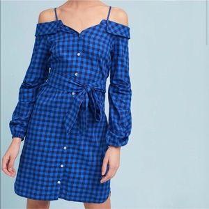 NWOT Anthro Flannel Open-Shoulder Shirtdress